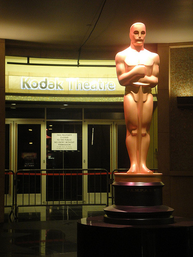 Preparing for the 84th Annual Academy Awards - giant Oscar statue
